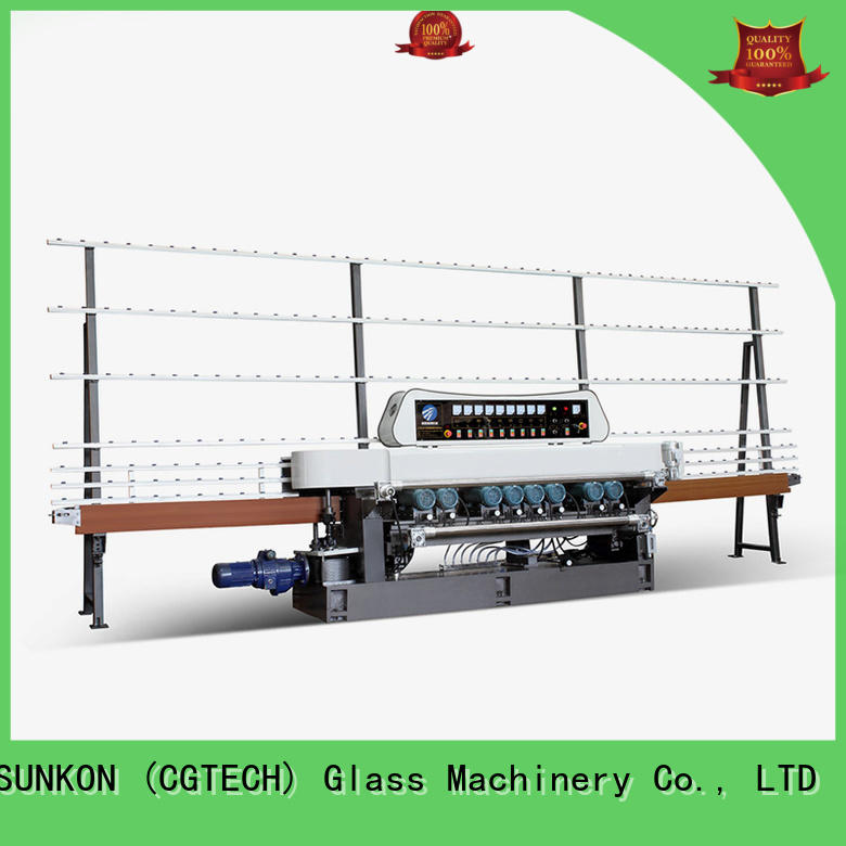 SUNKON Brand display glass function straight bevelled edger      glass beveling machine plc