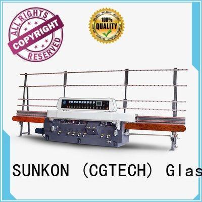 SUNKON glass straight line beveling machine line edging plc grinding
